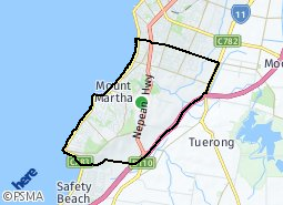 Location of Mount Martha