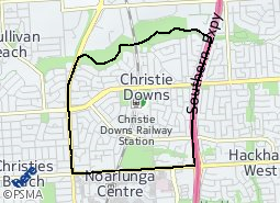 Location of Christie Downs